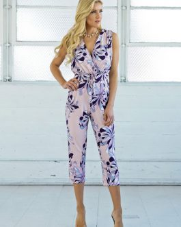 Women Floral V Neck Knotted Cropped Jumpsuit