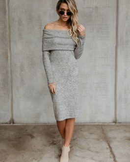 Women Knit Dress Off The Shoulder Layered Sheath Dress