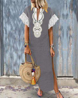 Women Lace Patchwork Short Sleeve V-Neck Baggy Boho Split Hem Maxi Dress