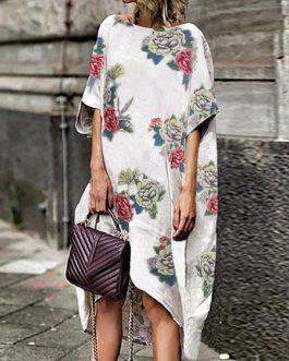 Women Loose Floral Print Half Sleeve Irregular Hem Dress