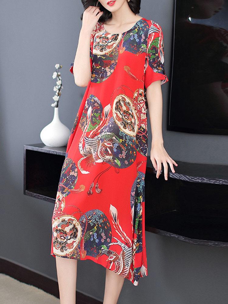 Women National Style Printed Hem Dress 1