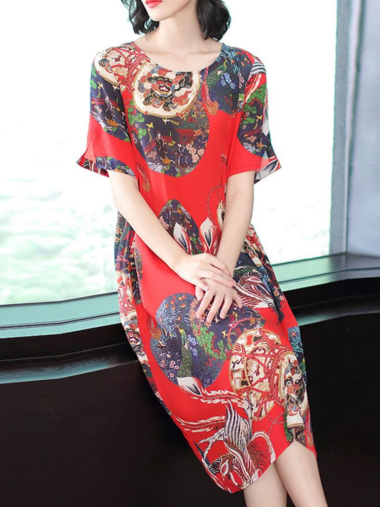 Women National Style Printed Hem Dress 2
