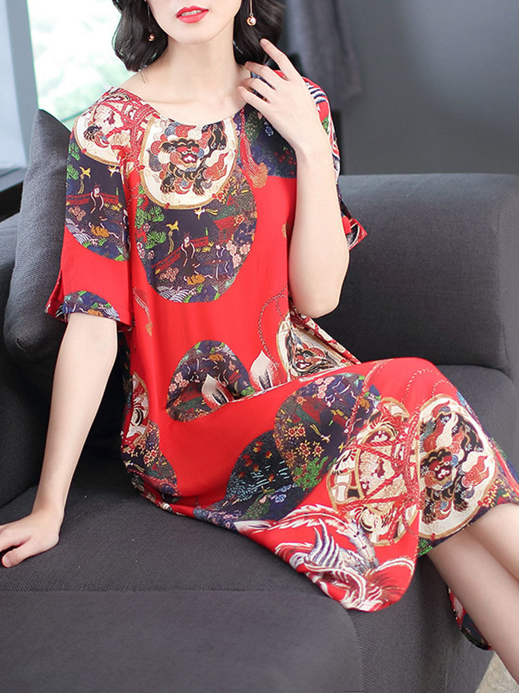 Women National Style Printed Hem Dress 3