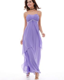 Women Party Dress Lilac Straps Sleeveless Rhinestones Pleated Layered Chiffon Maxi Dresses
