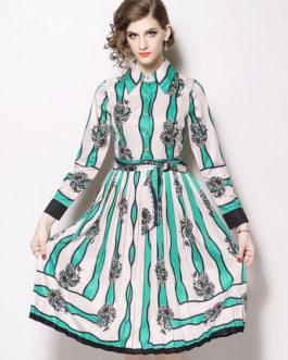 Women Printed Tie Waist Shirt Dress