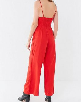 Women Red Buttons Jumpsuit