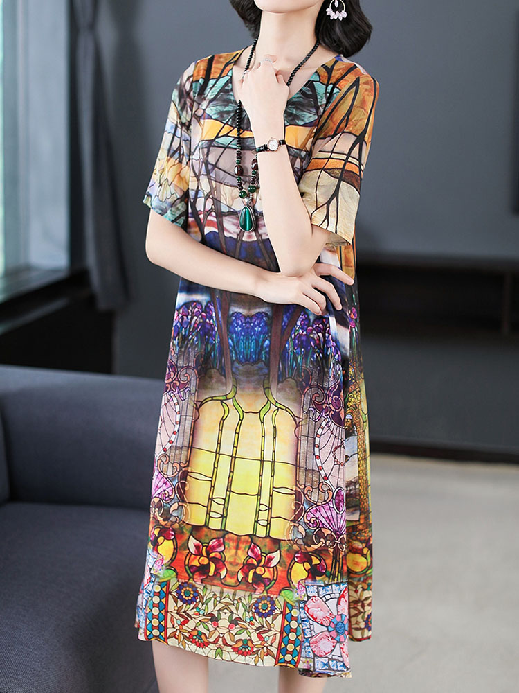 Women Retro Flowers Printing Silk Vintage Dresses 1