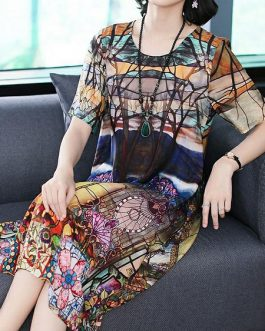 Women Retro Flowers Printing Silk Vintage Dress