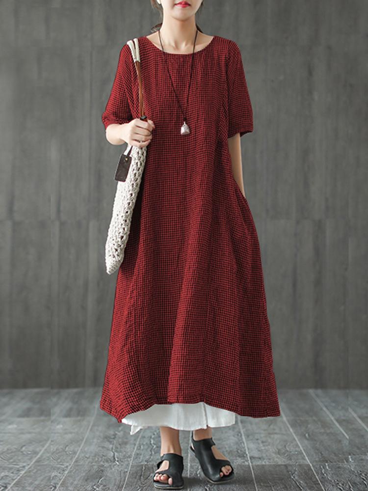 Women Retro Plaid Short Sleeve O neck Long Shirt Vintage Dress1