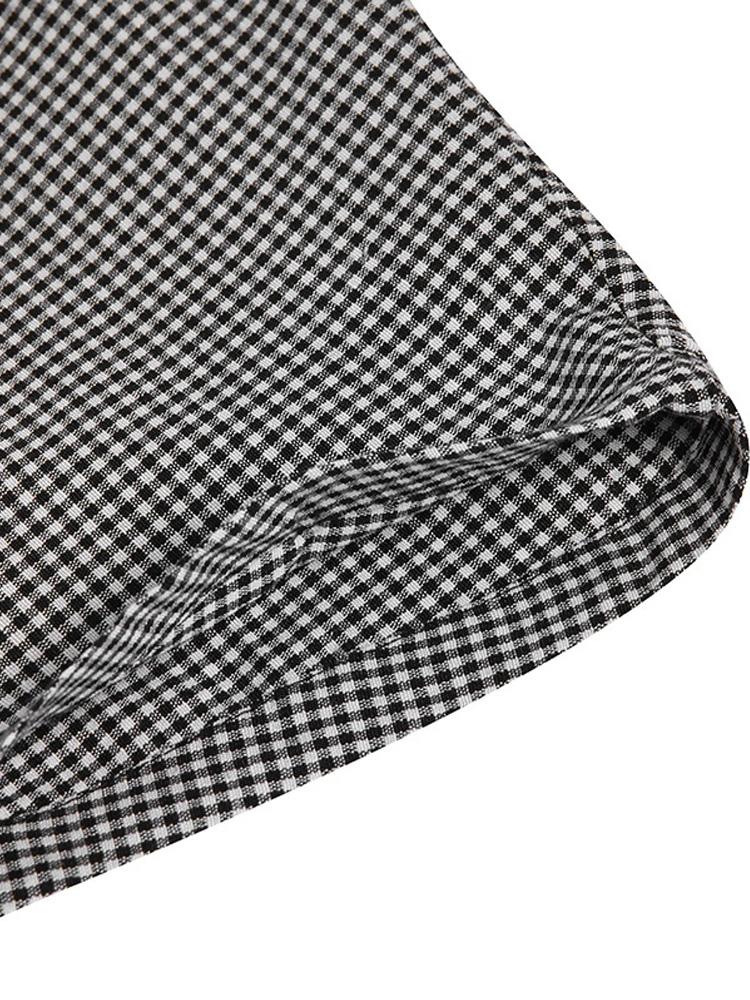 Women Retro Plaid Short Sleeve O neck Long Shirt Vintage Dress10
