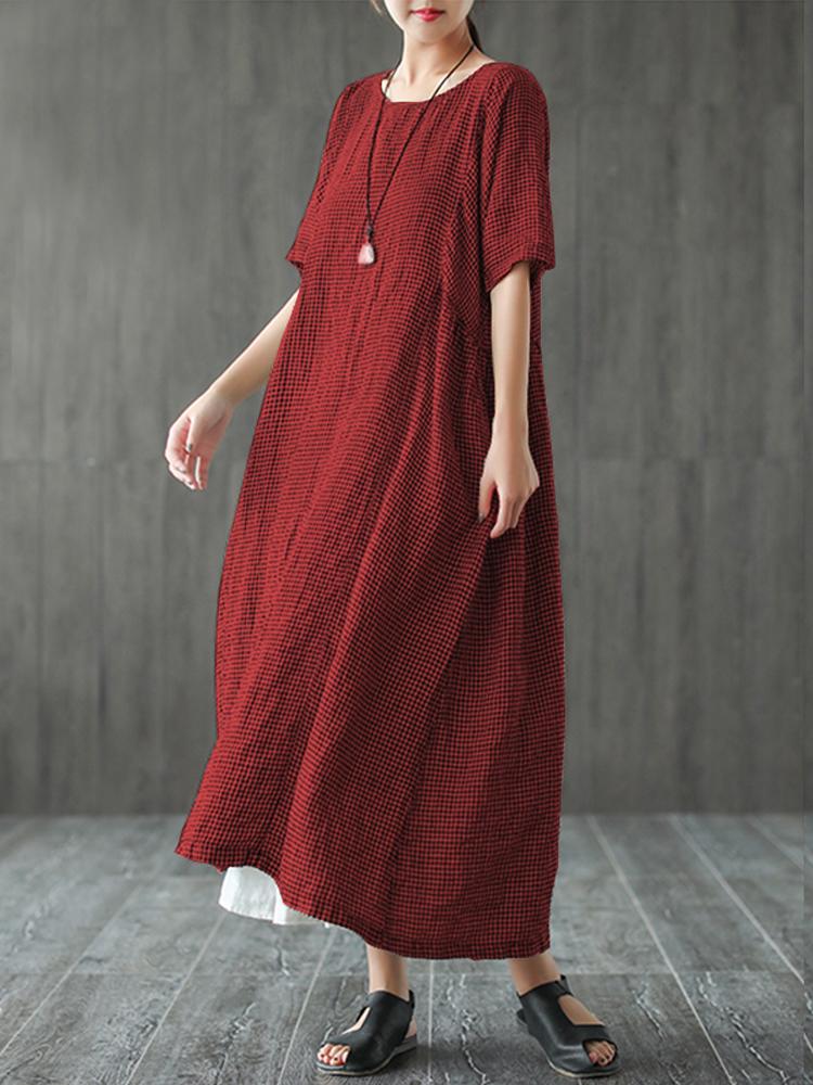 Women Retro Plaid Short Sleeve O neck Long Shirt Vintage Dress2