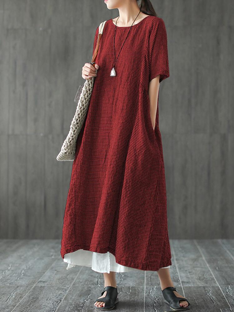 Women Retro Plaid Short Sleeve O neck Long Shirt Vintage Dress3