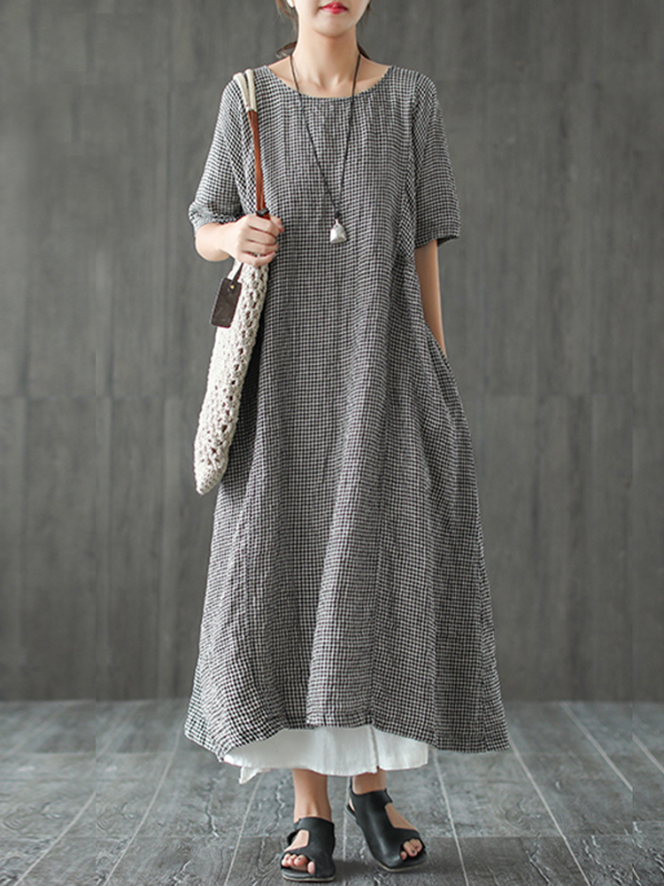Women Retro Plaid Short Sleeve O neck Long Shirt Vintage Dress4