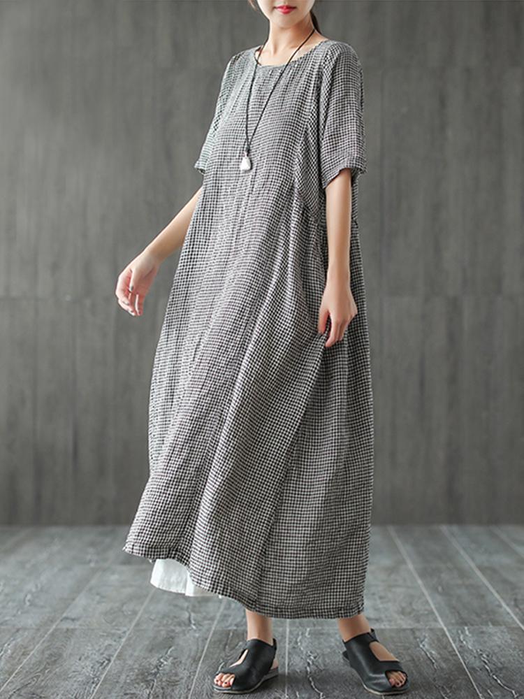 Women Retro Plaid Short Sleeve O neck Long Shirt Vintage Dress5