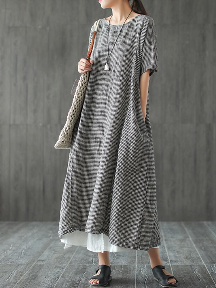 Women Retro Plaid Short Sleeve O neck Long Shirt Vintage Dress6