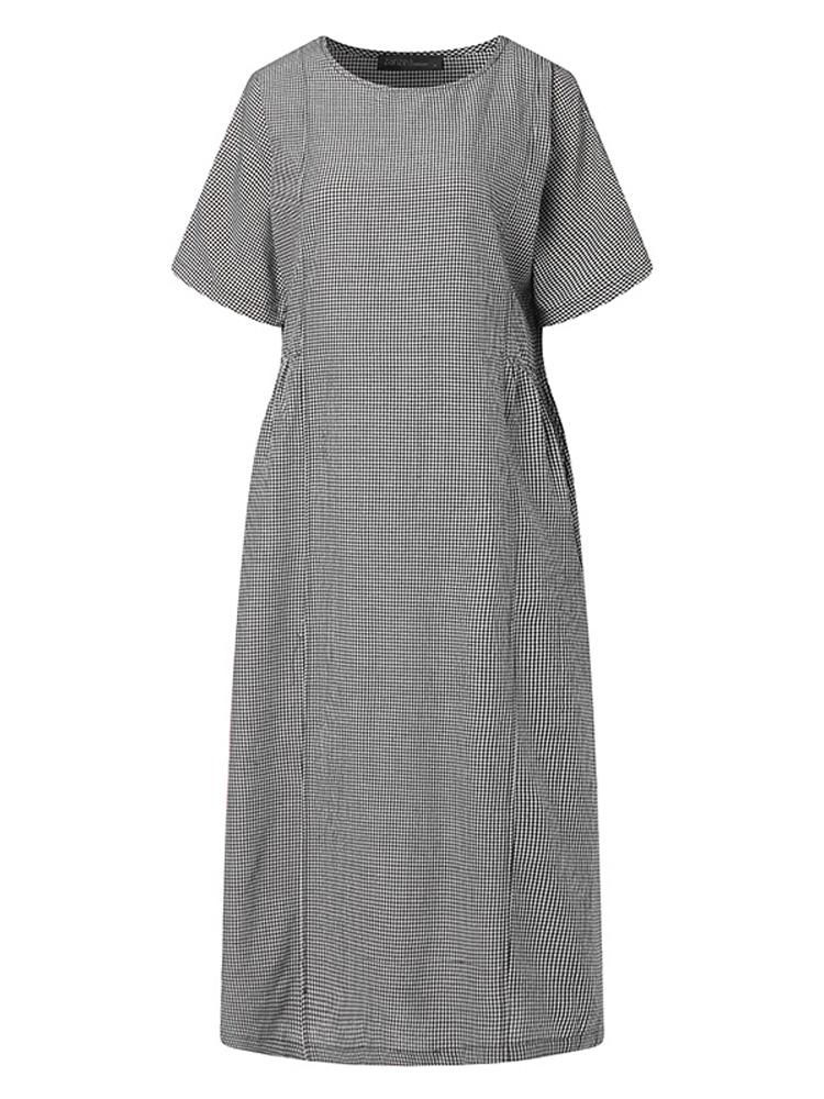 Women Retro Plaid Short Sleeve O neck Long Shirt Vintage Dress7