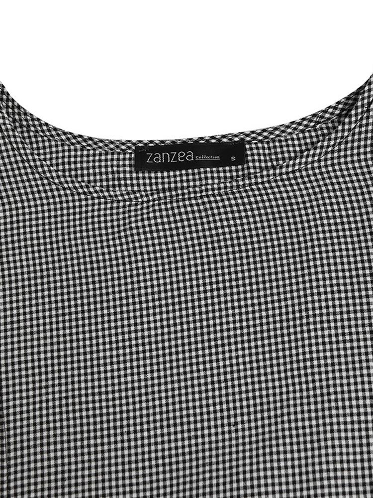Women Retro Plaid Short Sleeve O neck Long Shirt Vintage Dress8