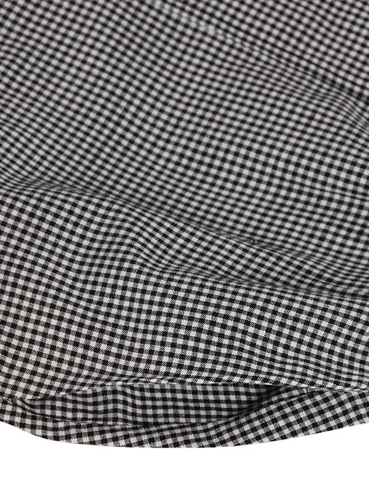 Women Retro Plaid Short Sleeve O neck Long Shirt Vintage Dress9