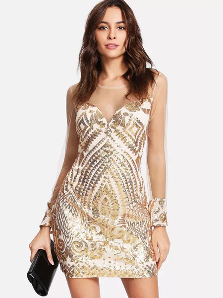458be1e91fe Women Sequin Dress Long Sheer Sleeves Luxury Zip Back Bodycon Party ...