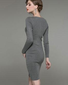 Women Sheath Dress Long Sleeve White Contrast Knit Dress