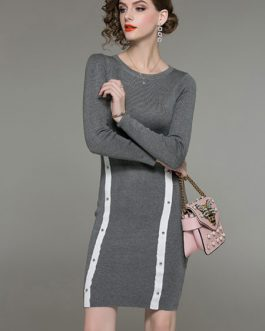 Women Sheath Dress Long Sleeve White Contrast Knit Dress