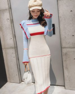 Women Sheath Sweater Dress Long Sleeve Patchwork Ruffled Dress