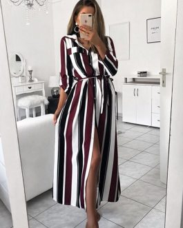 Women  Spring Striped Party Dress