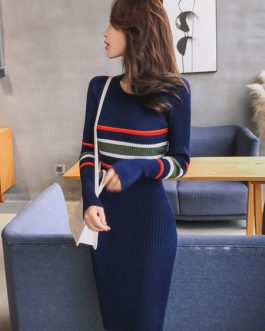 Women Striped Knitted Dress Long Sleeve Round Neck Bodycon Dress