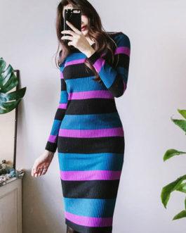 Women Striped Sweater Dress Round Neck Long Sleeve Fall And Winter Dress