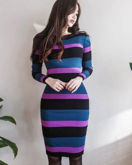 Women Striped Sweater Dress Round Neck Long Sleeve Fall And Winter Dress