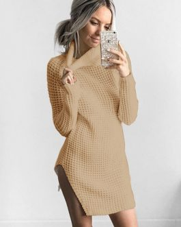 Women Sweater Dress High Collar Long Sleeve Shaping Knitted Dress
