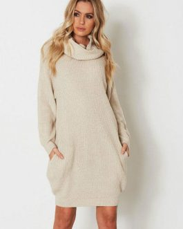 Women Sweater Dress High Collar Long Sleeve Shift Knitted Dress With Pockets