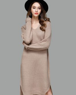 Women Sweater Dress Light Brown V Neck Long Sleeve Shift Dress Cotton Knit Dress