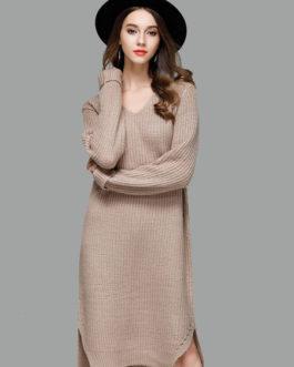 Women Sweater Dress Light Brown V Neck Long Sleeve Shift Dress Cotton Knit Dress