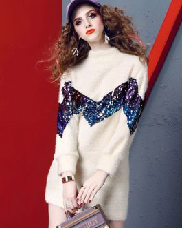 Women Sweater Dress Long Sleeve Crewneck Sequins Two Tone Mini Dress