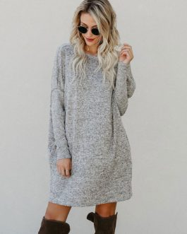 Women Sweater Dress Long Sleeve Gray Cotton Knitted Dress