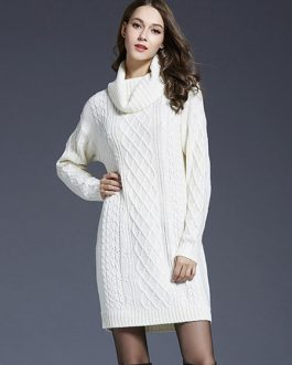 Women Sweater Dress Turtleneck Long Sleeve Cotton Dark Navy Knitted Dress
