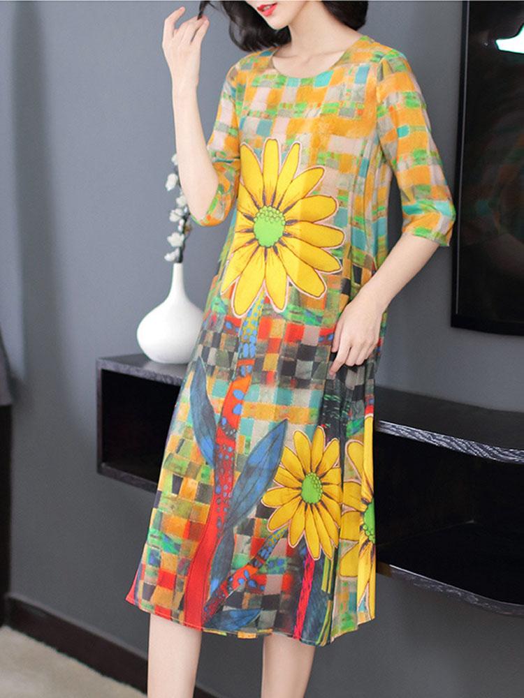 Women Vintage Flower Printed Loose Calf Length Dress 1