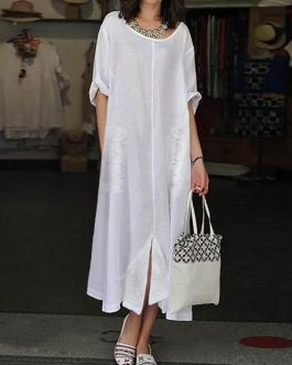 Women Vintage  Split Hem Crew Neck Dress