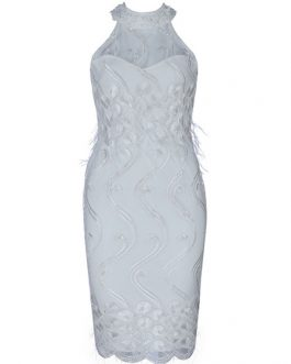Women White Dress Sleeveless Halter Body-conscious Embroidered Dress