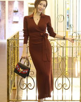 Women Wrap Dress V Neck Long Sleeve Elegant Long Dress