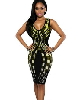 Women's Bodycon Dress V-neck Sleeveless Embossed Printed Sexy Dress