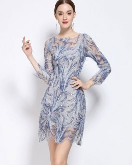 Women's Party Dress Sequined Blue Round Neck 3/4 Length Sleeve Short Dress