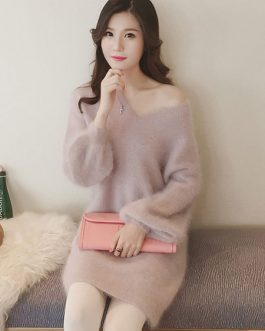 Women's Sweater Dress Soft Pink V Neck Puff Sleeve Midi Dress