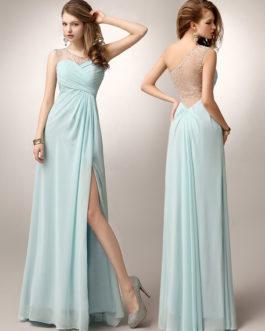 Prom dresses long 2019 One Shoulder High Split beaded formal party dress