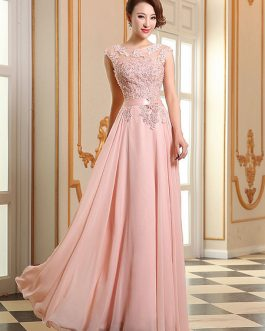 Prom Dresses Lace Applique Evening Dresses Chiffon Sleeveless Sash Floor Length Formal Gowns
