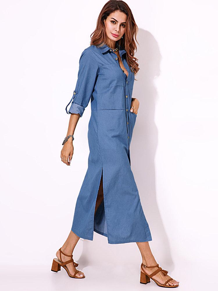 split denim maxi shirt dress - Power Day Sale