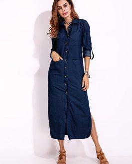 split denim maxi shirt dress