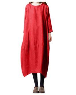 3/4 Sleeve Round Neck Vintage Long Maxi Dress
