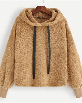 Casual Plain Faux Fur Fluffy Teddy Hoodie Pullovers With Drawstring Preppy Sweatshirt